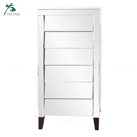 Home Wholesale Furniture Tallboy Mirrored Chest 6 Drawer