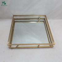 Wholesale Gold Metal Glass Mirror Serving Tray Mirrored Rectangle Vanity Tray