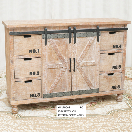 Country Style Barn Door Wood Buffet Cabinet Sideboard