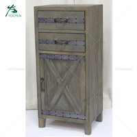 Vintage rustic classic 2 drawer wood cabinet