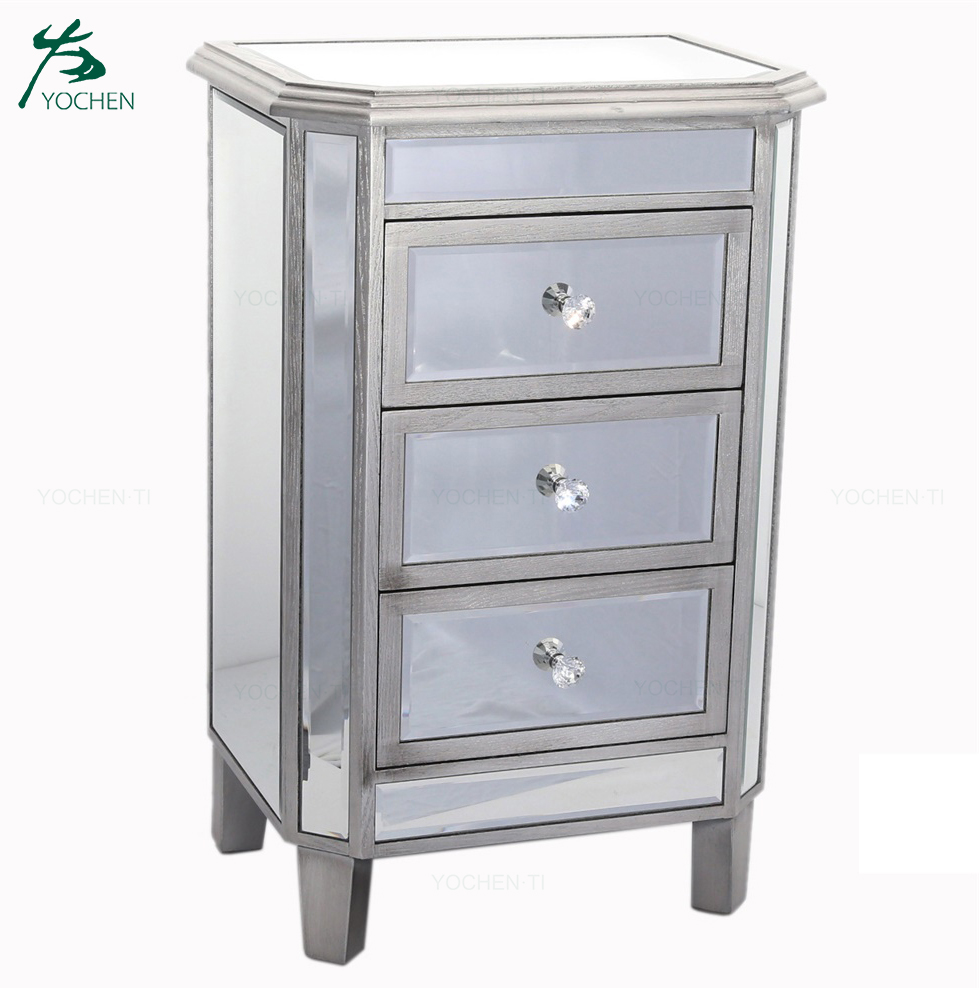 Yochen Classic Mirror Finished 3 Drawer Side Table