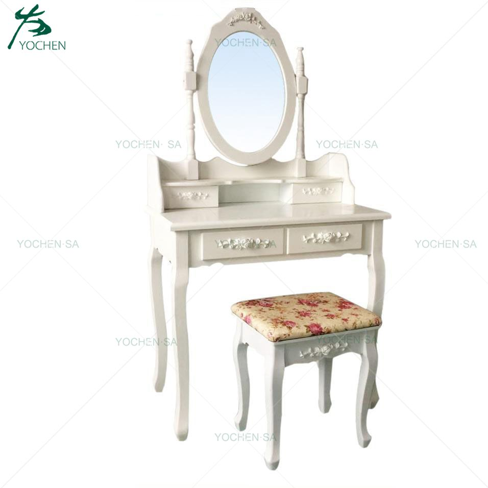 French Style Wooden White 4 Drawers Dressing Table with Mirror