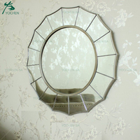 Metal Decoration Sunburst Shape Wall Silver Mirror