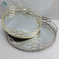 Hotel metal serving tray stainless steel frame mirror tray