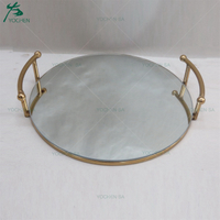 Electroplate Gold Metal Mirrored Serving Tray for Houseware