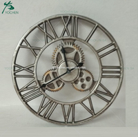 Vintage Silver Industrial Metal Round Wall Clock