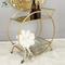 Gold metal mirrored furniture glass rolling tray table