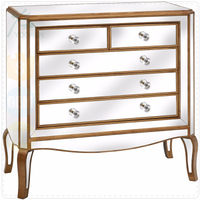 Venetian Mirrored Bedroom Bedside Large Corner Chest of Drawers Table