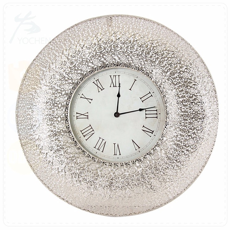 classic antique tinplate silver punched metal round clock