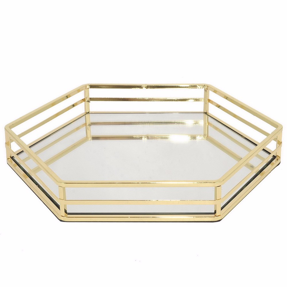 Gold Metal Beveled Mirror Tray Plate
