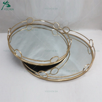 Metal Mirrored Ornate Decorative Tray Jewelry Tray