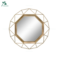 Home Interior Geometric Gold Color Metal Frame Antique Decorative Wall Mirror