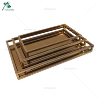 Customized 3 sizes of rectangle decorative metal serving tray