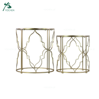 Golden Accent Metal Side Table Glass Round Coffee Table