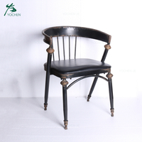Industrial vintage wrought iron black restaurant dining chair