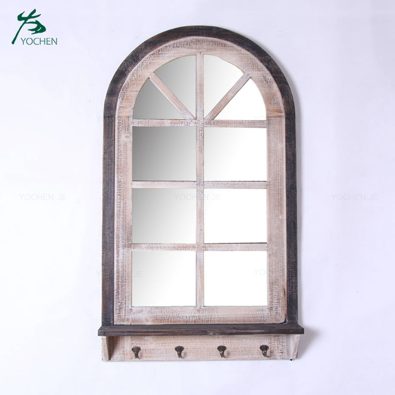 decorative reclaimed wood window wall hanging mirror