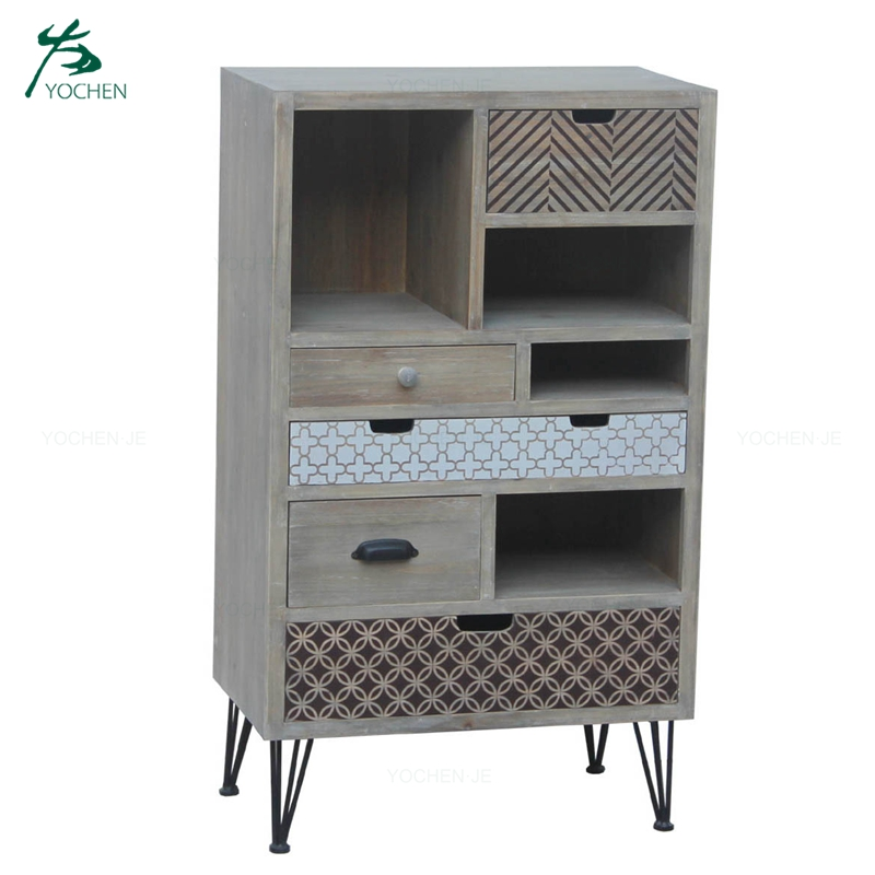 Industrial Living Room Antique Wooden Storage Cabinet