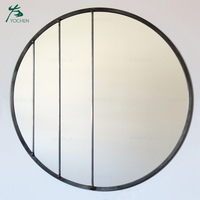 Modern Handmade Circle Mirror Black Metal Frame Wall Mirror