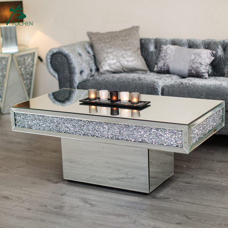 Living room diamond crush furniture glass mirrored coffee table