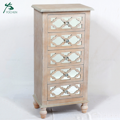 White Washed Lattice Wood Mirror Glass Tall Chest of Drawers Tallboy