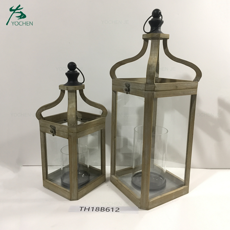 Antique distressed mdf wood lantern for home decor
