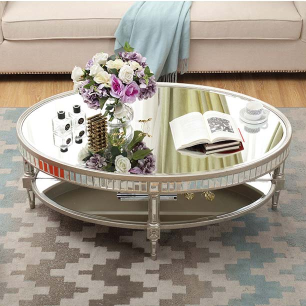 crushed diamond sparkled modern furniture coffee table glass round tea table for home decor