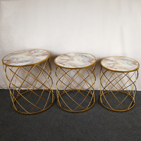 Fashion design round MDF marble metal coffee table