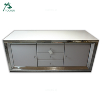 White Mirrored Tv Stand Cabinet Living Room Furniture