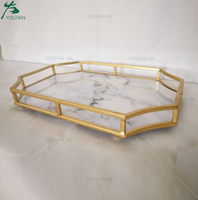 Rectangular Metal Frame Marble Finish Serving Tray