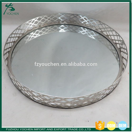 Mirrored Round Tray Silver