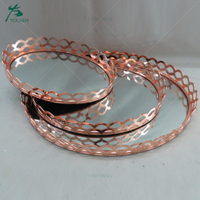 Home Decor Serving Electroplated Rose Gold Oval Shape Mirror Metal Tray