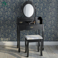 Custom Antique Black Dressing Table With Mirror And Stool