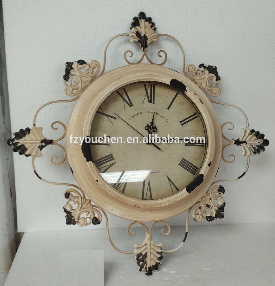 Retro Round Metal Outdoor Wall Clock Garden Clock