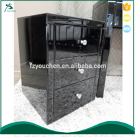 Black Mirrored 3 Drawer Bedside Table