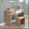 Modern Simple Style White Wooden Dressing Table With Lighted Mirror