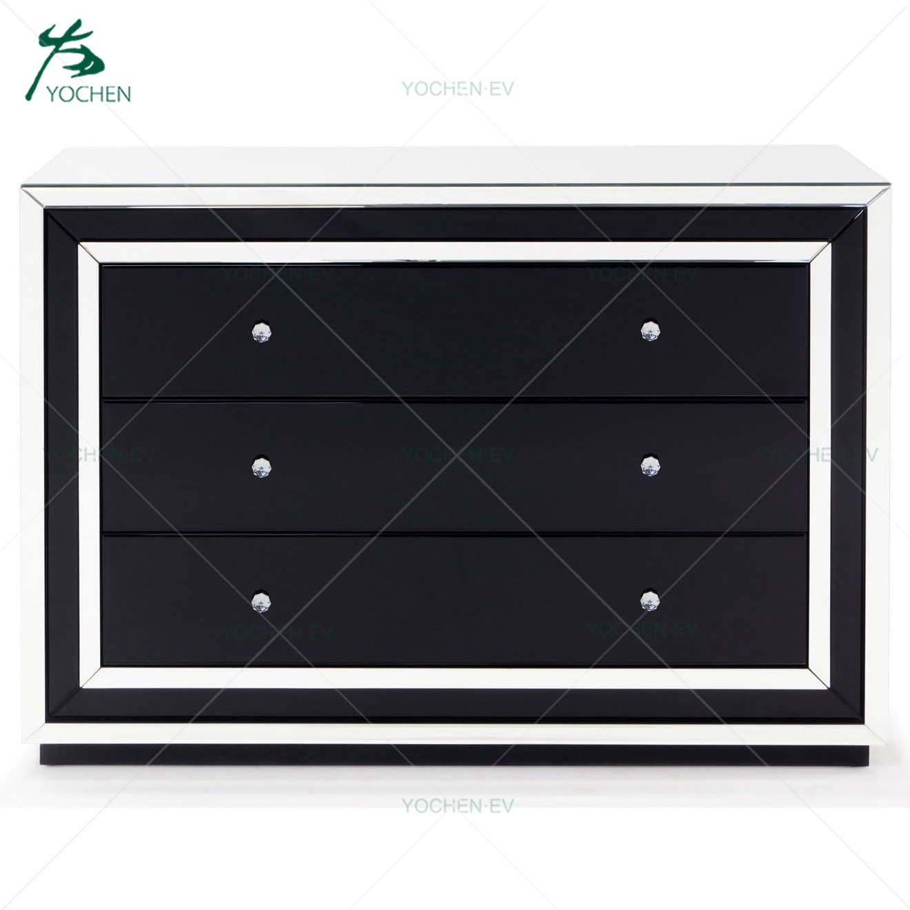 Three Wide Drawers Black Glass Mirrored Wooden Bedroom Furniture Chest Of Drawers
