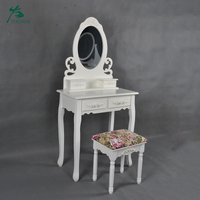 Kids White Color Makeup Vanity Table with Mirror