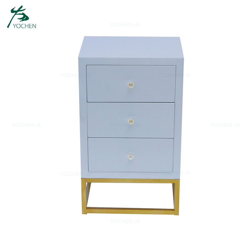 Solid wood gold metal legs chest 3 drawers bed side table