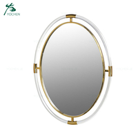 Modern Clear Unique Acrylic Gold Oval Wall Mirror
