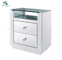 New Stylish Bedroom Furniture 2 Drawer Nightstand Mirrored Bedside Table