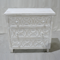 distressed furniture carved flower wash white wood wooden storage cabinet