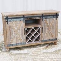 Sliding Barn Door Buffet Farmhouse Console Table Sideboard Cabinet
