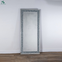 Diamond crush mirrored venetian glass large floor leaner mirror