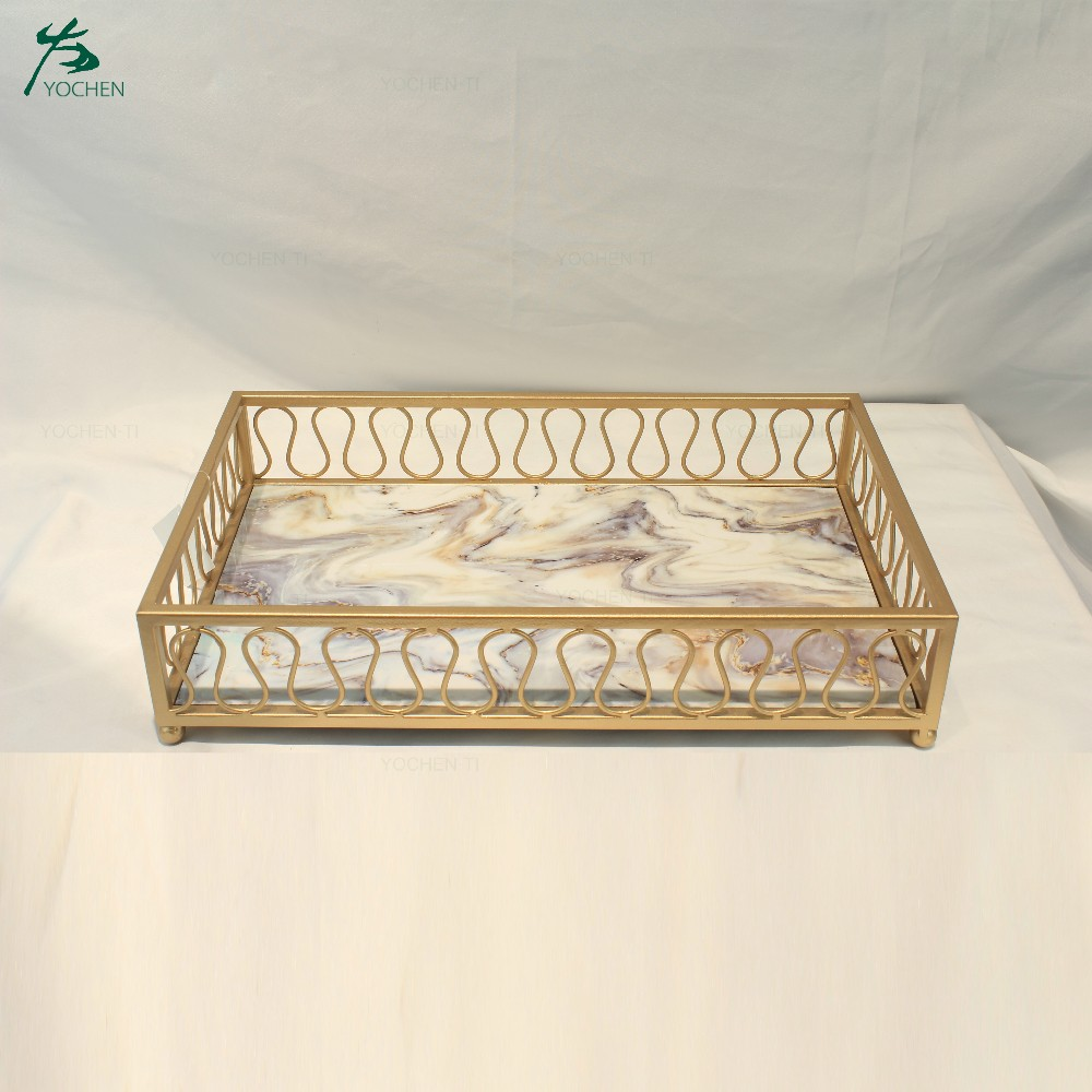 Marble top metal frame serving tray marble face serving tray