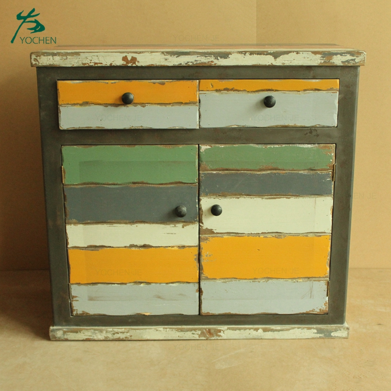 Shabby chic distressed wood living room storage drawer cabinet