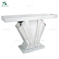 Modern European Luxury White Mirrored Fan Console Table