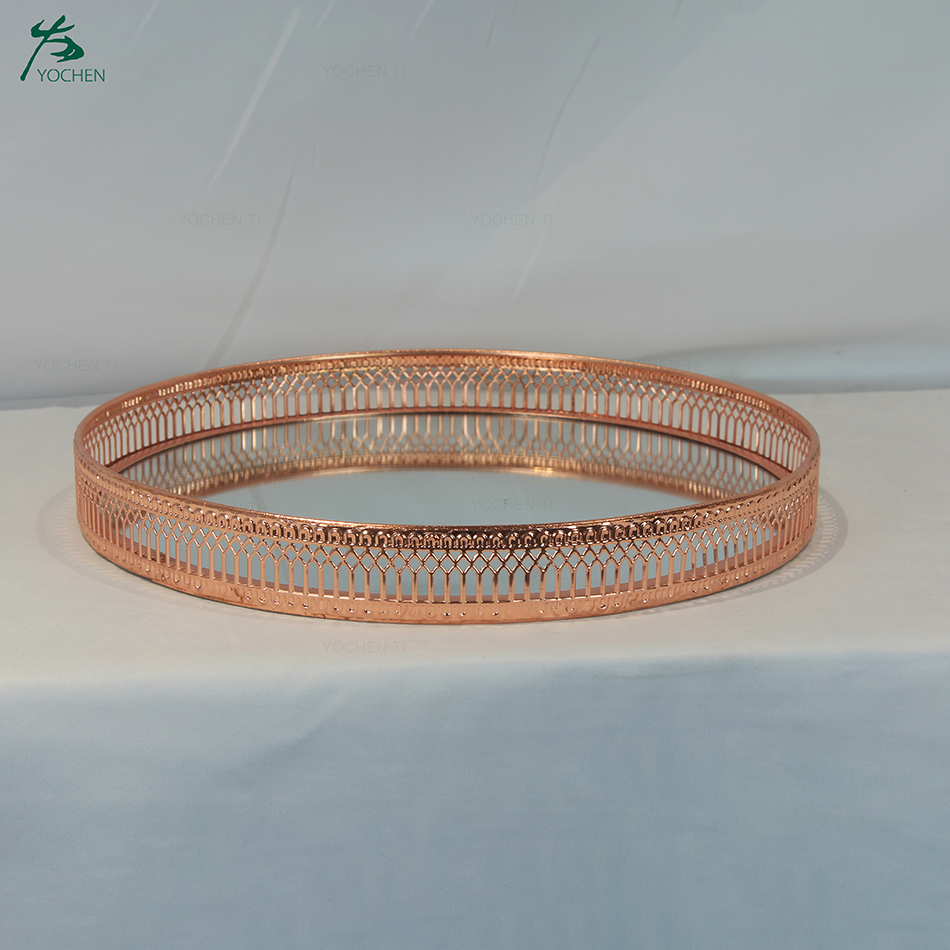 Dia29.5*3.5cm Rose Gold Mirror Glass Candle Plate Tray