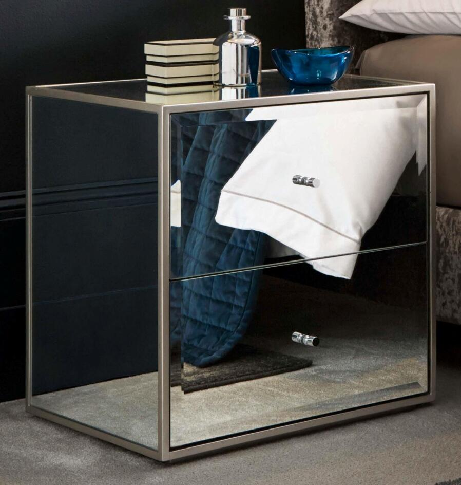 bedroom furniture 2 drawer side table night stand mirrored furniture