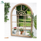 Large New Rustic Multi Panelled Arched Window Garden Outdoor Mirror