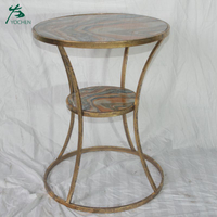 Home furniture coffee table gold finish faux marble top round side table with two tiers